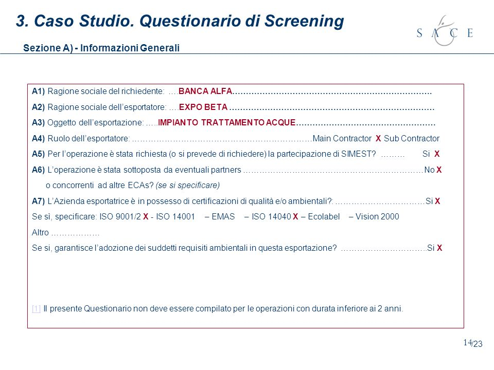 3. Caso Studio. Questionario di Screening