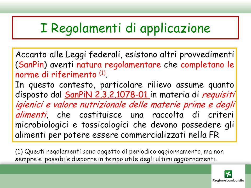 I Regolamenti di applicazione