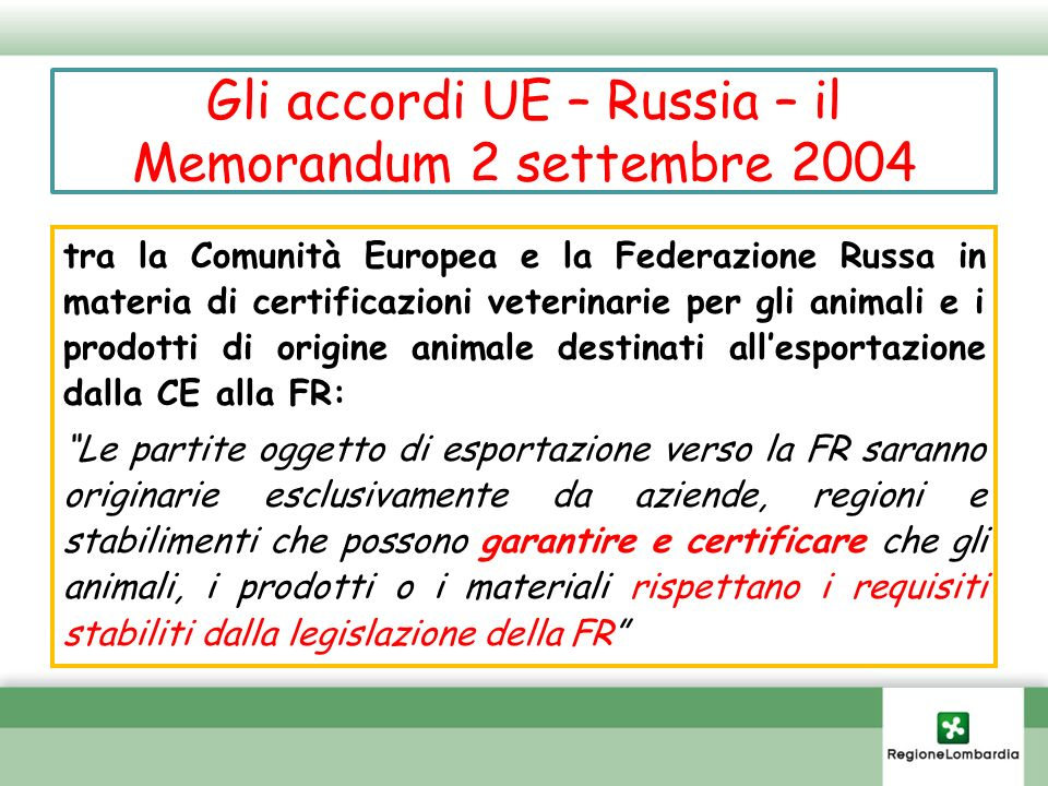 Gli accordi UE – Russia – il Memorandum 2 settembre 2004