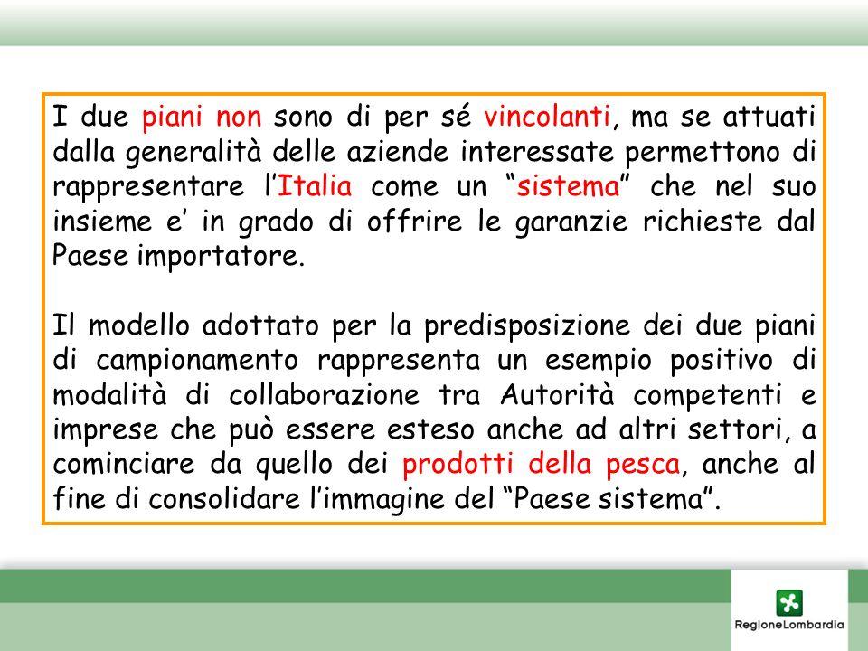 I due piani non sono di per sé vincolanti, ma se attuati dalla generalità delle aziende interessate permettono di rappresentare l'Italia come un sistema che nel suo insieme e' in grado di offrire le garanzie richieste dal Paese importatore.