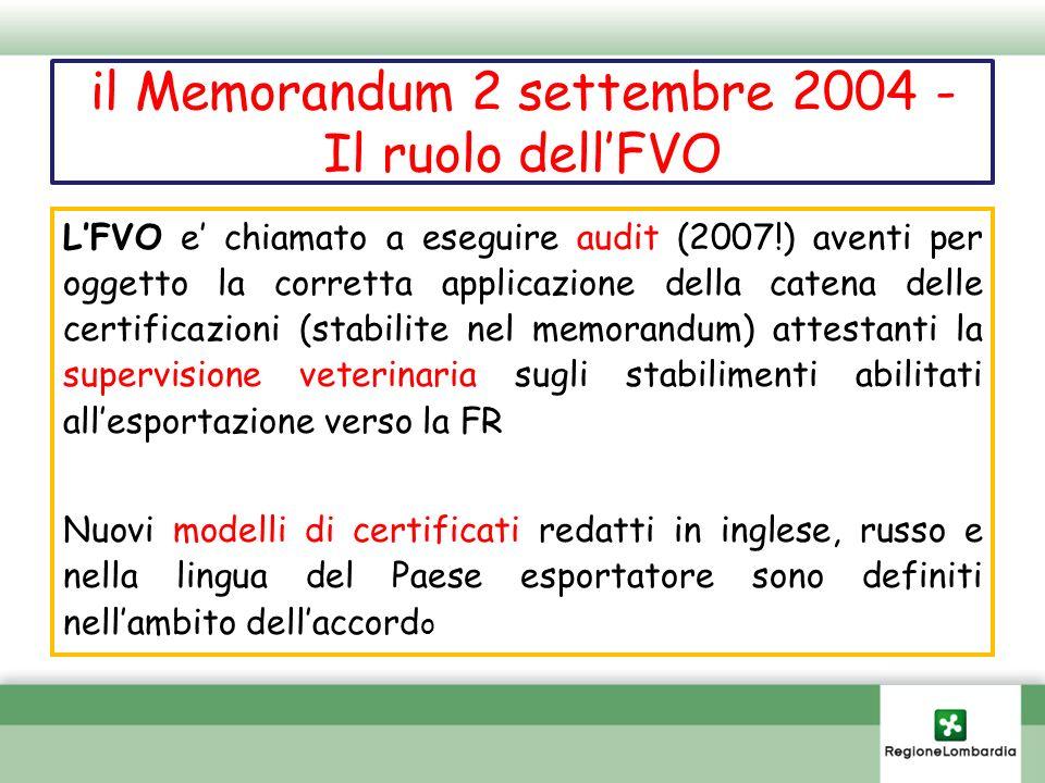 il Memorandum 2 settembre 2004 - Il ruolo dell'FVO