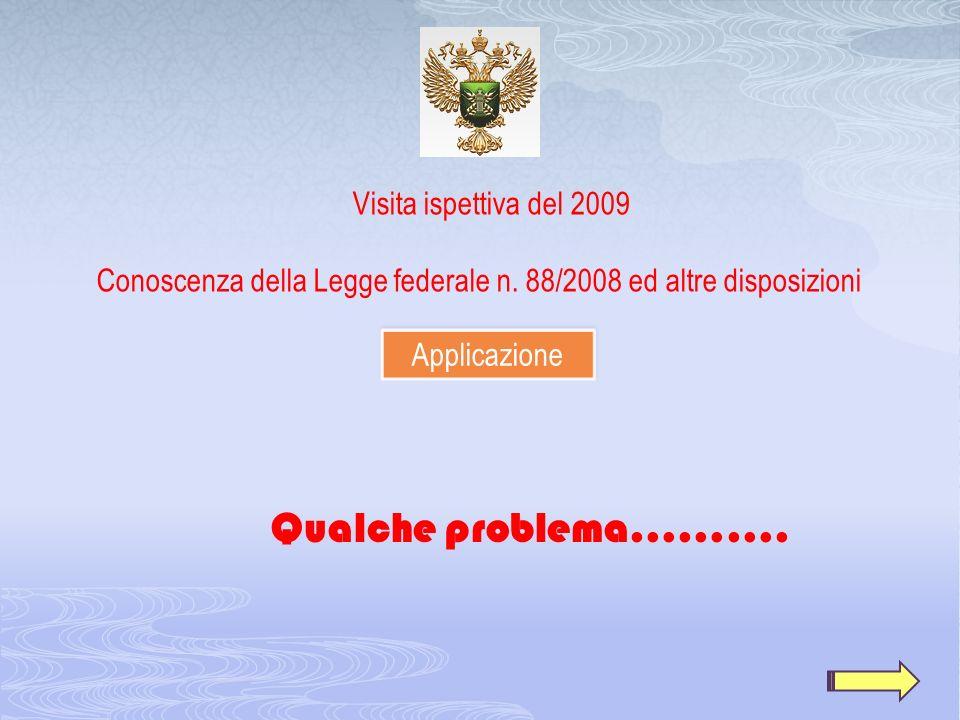 Qualche problema………. Visita ispettiva del 2009