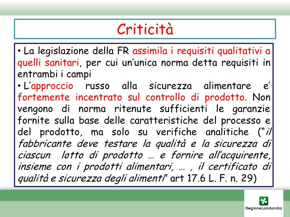 CriticitàLa legislazione della FR assimila i requisiti qualitativi a quelli sanitari, per cui un'unica norma detta requisiti in entrambi i campi.