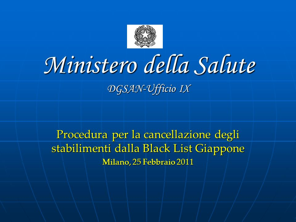 Ministero della Salute DGSAN-Ufficio IX