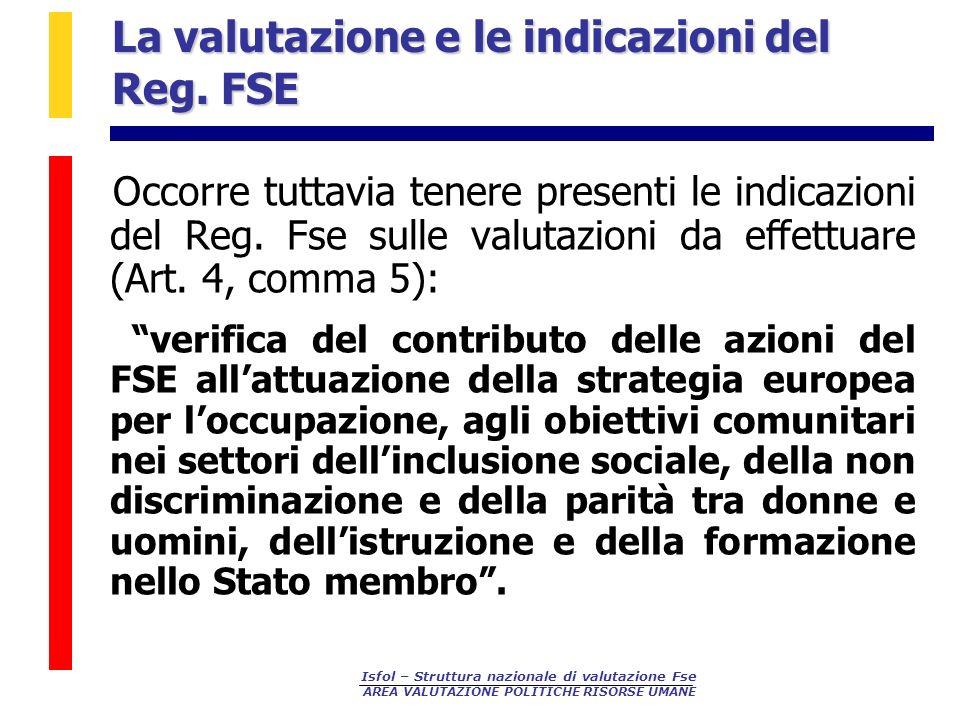 La valutazione e le indicazioni del Reg. FSE