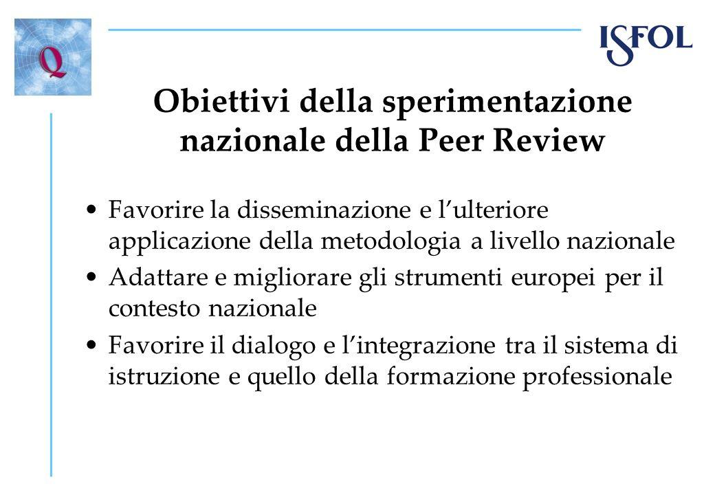 Obiettivi della sperimentazione nazionale della Peer Review