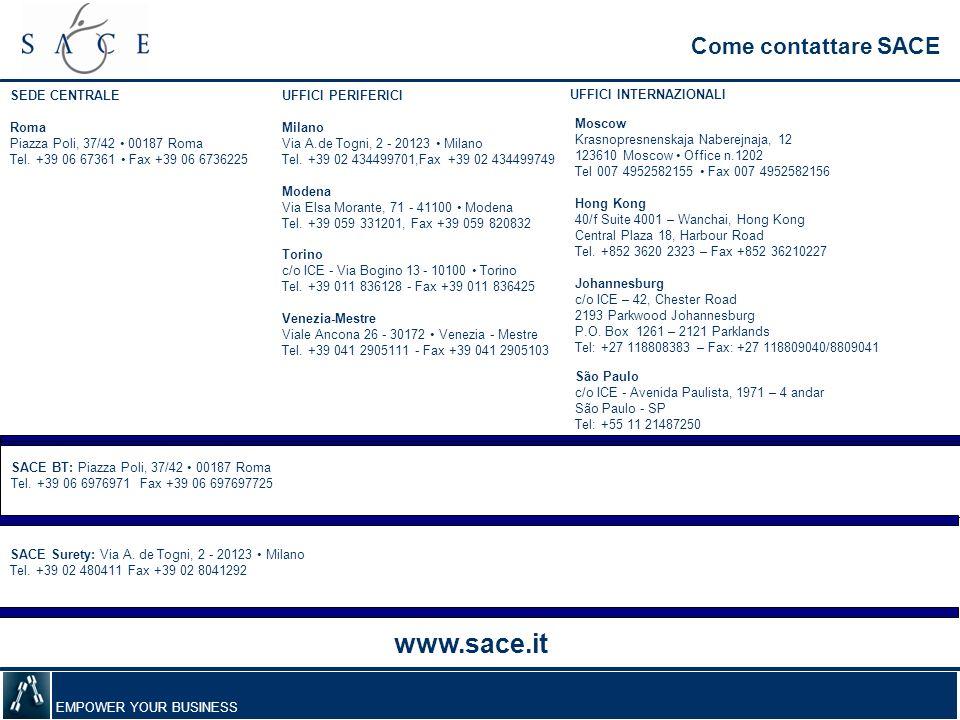 www.sace.it Come contattare SACE SEDE CENTRALE Roma