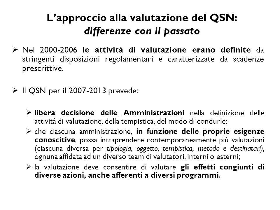 L'approccio alla valutazione del QSN: differenze con il passato