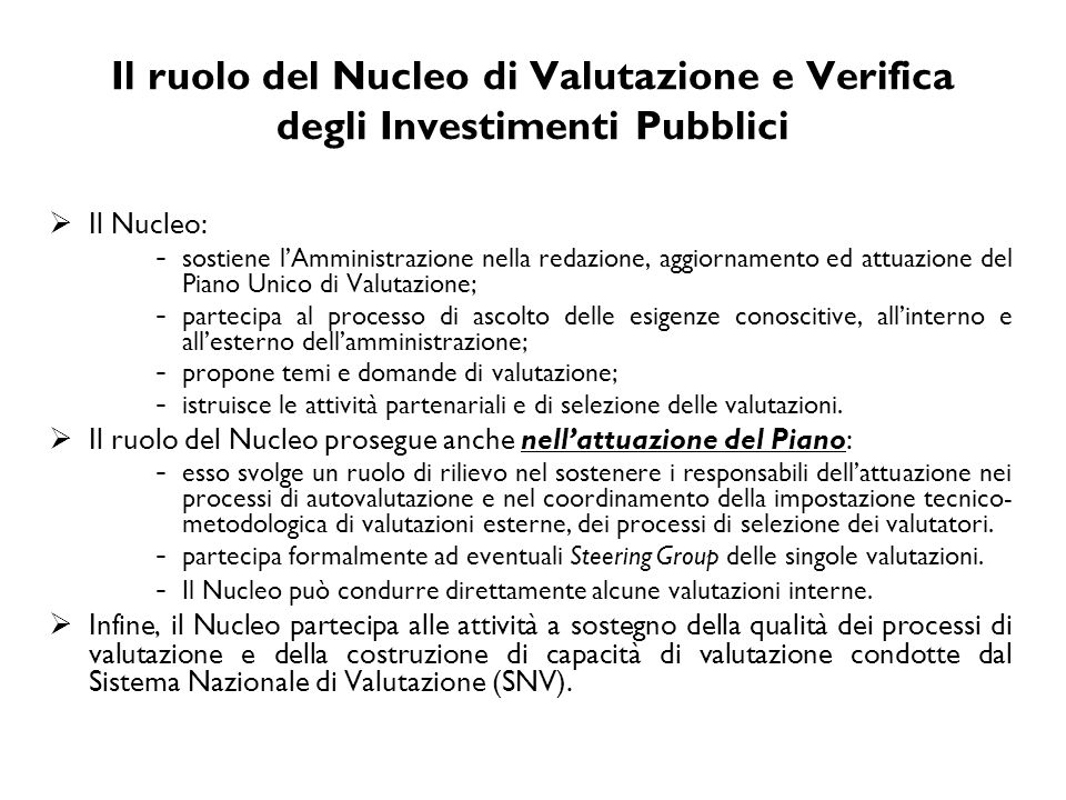 Il ruolo del Nucleo di Valutazione e Verifica degli Investimenti Pubblici