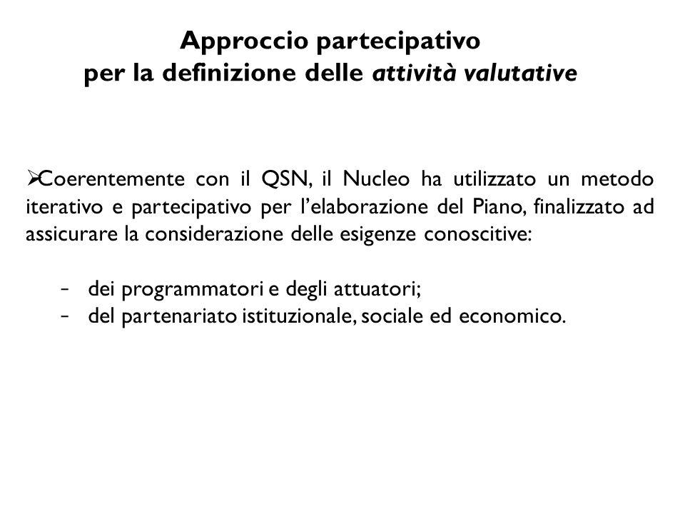 Approccio partecipativo per la definizione delle attività valutative