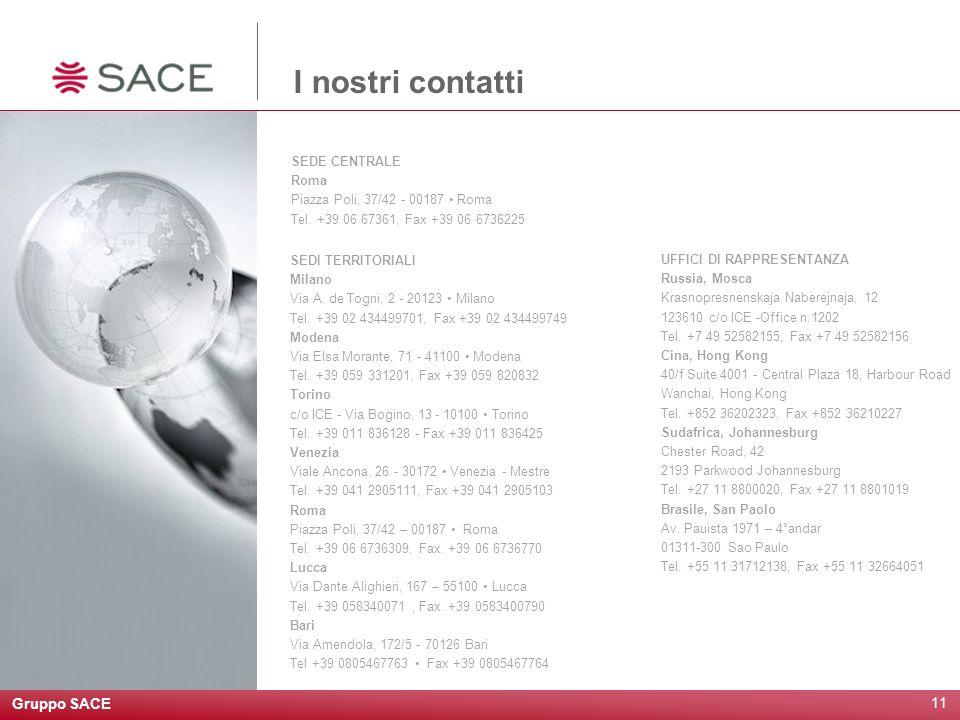 I nostri contatti Gruppo SACE SEDE CENTRALE Roma