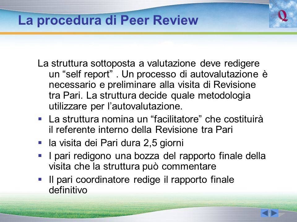 La procedura di Peer Review