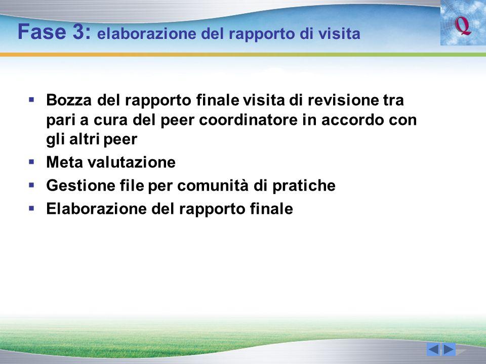 Fase 3: elaborazione del rapporto di visita