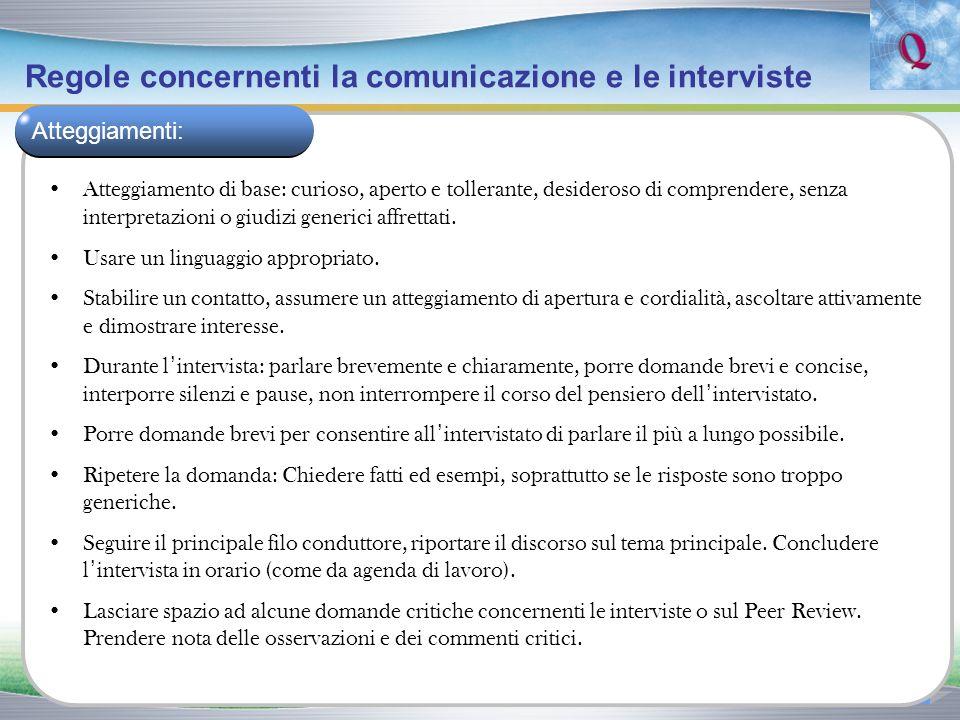 Regole concernenti la comunicazione e le interviste