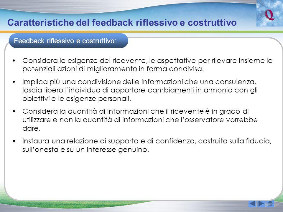 Caratteristiche del feedback riflessivo e costruttivo