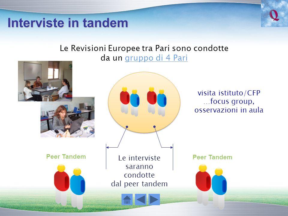 Interviste in tandem Le Revisioni Europee tra Pari sono condotte