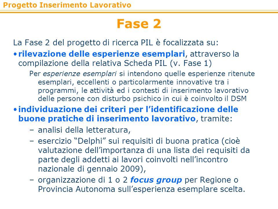 Fase 2 La Fase 2 del progetto di ricerca PIL è focalizzata su:
