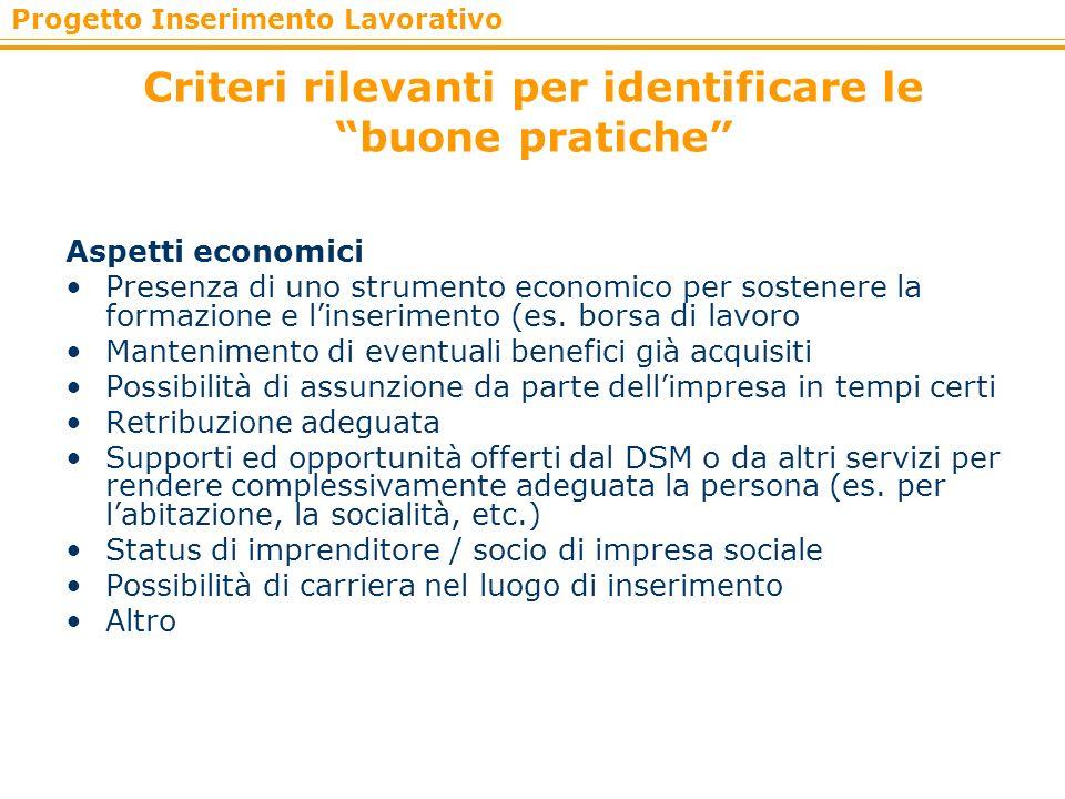 Criteri rilevanti per identificare le buone pratiche