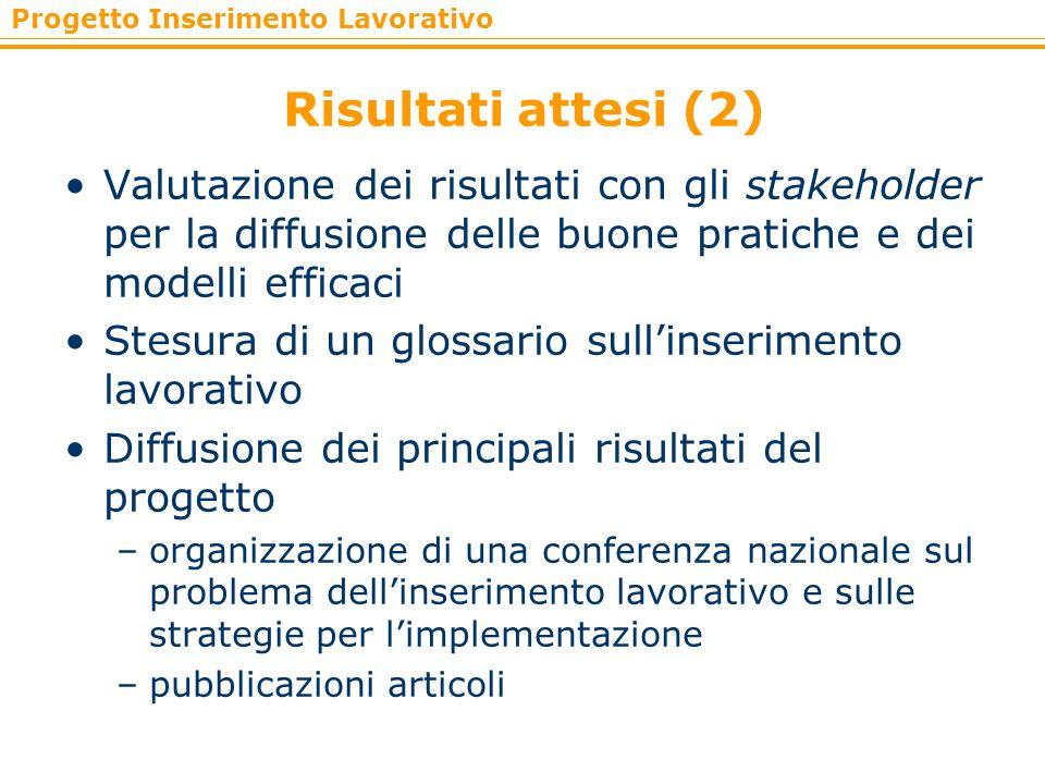Risultati attesi (2)Valutazione dei risultati con gli stakeholder per la diffusione delle buone pratiche e dei modelli efficaci.