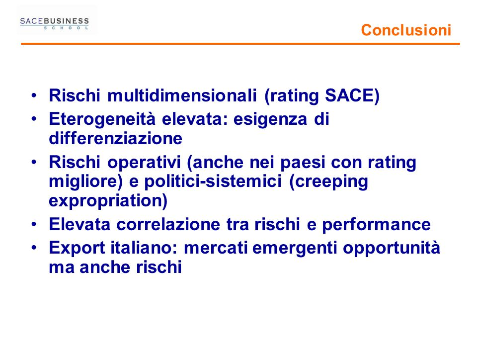 Rischi multidimensionali (rating SACE)