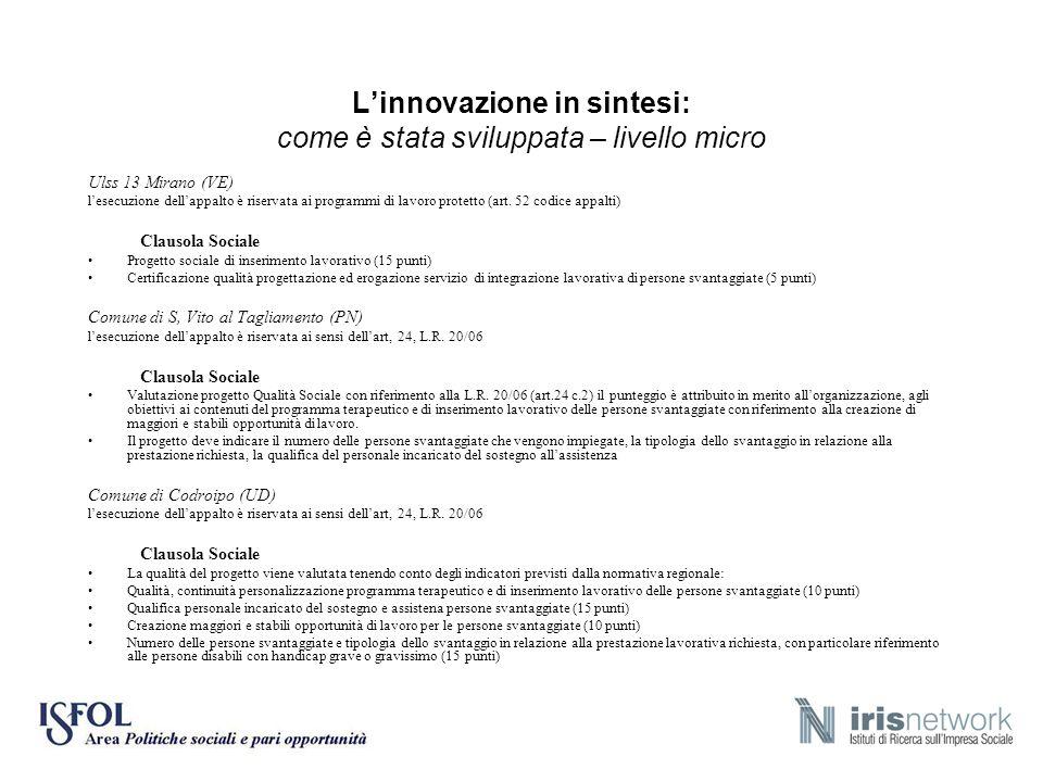 L'innovazione in sintesi: come è stata sviluppata – livello micro