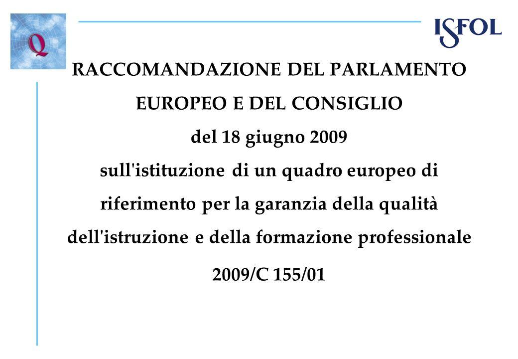 RACCOMANDAZIONE DEL PARLAMENTO EUROPEO E DEL CONSIGLIO del 18 giugno 2009 sull istituzione di un quadro europeo di riferimento per la garanzia della qualità dell istruzione e della formazione professionale 2009/C 155/01