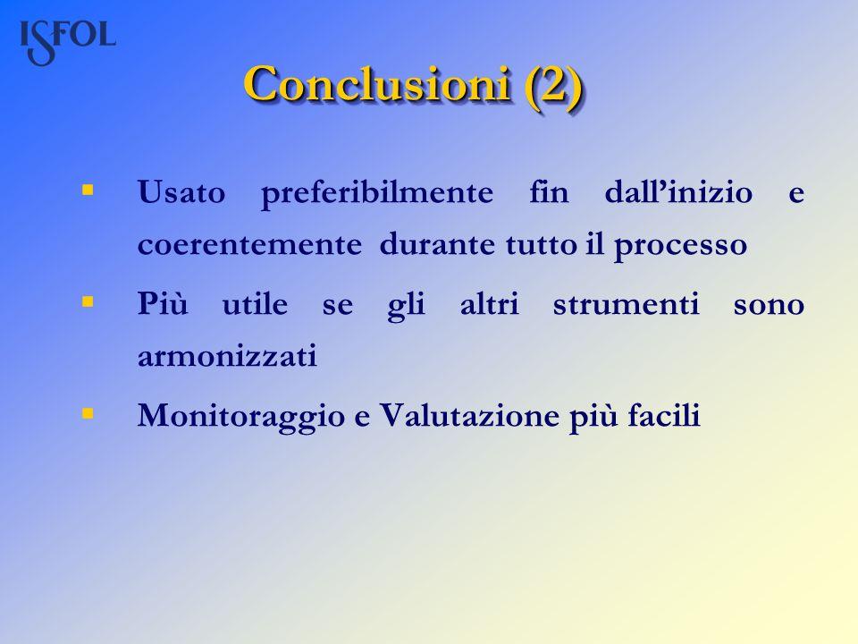 Conclusioni (2) Usato preferibilmente fin dall'inizio e coerentemente durante tutto il processo. Più utile se gli altri strumenti sono armonizzati.