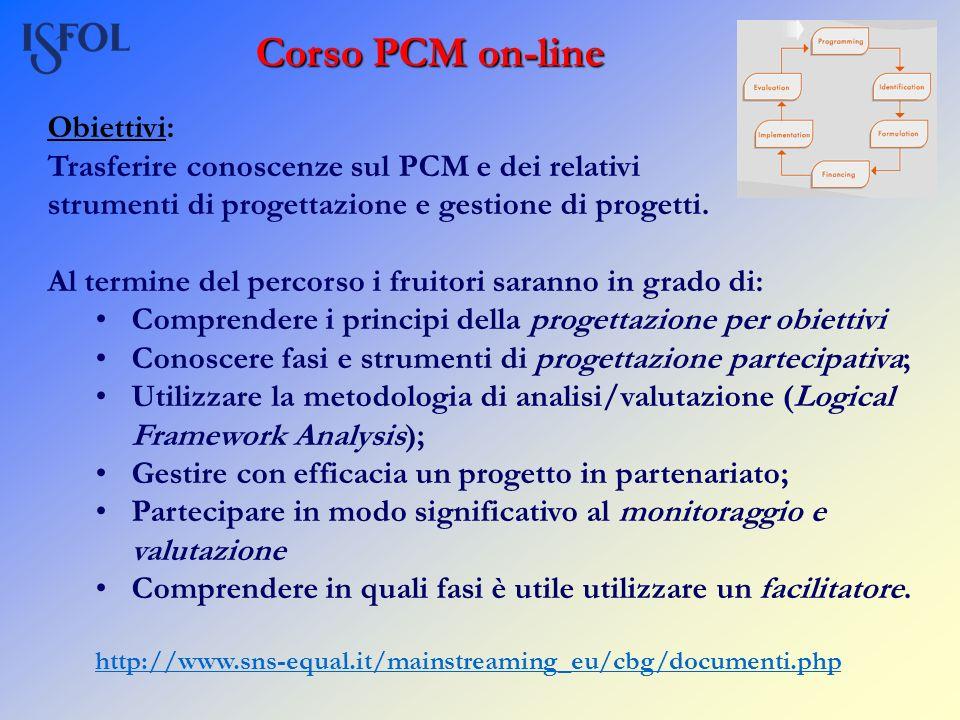 Corso PCM on-line Obiettivi: