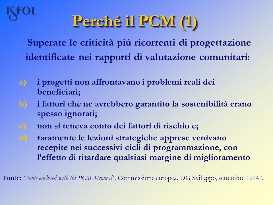 Perché il PCM (1) Superare le criticità più ricorrenti di progettazione. identificate nei rapporti di valutazione comunitari: