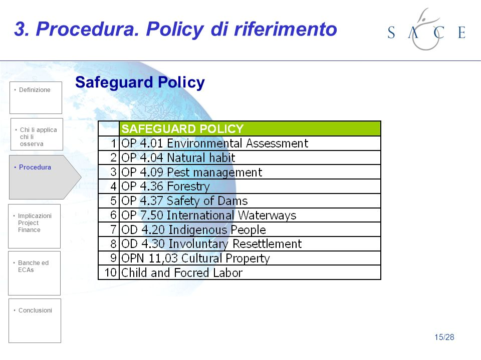 3. Procedura. Policy di riferimento