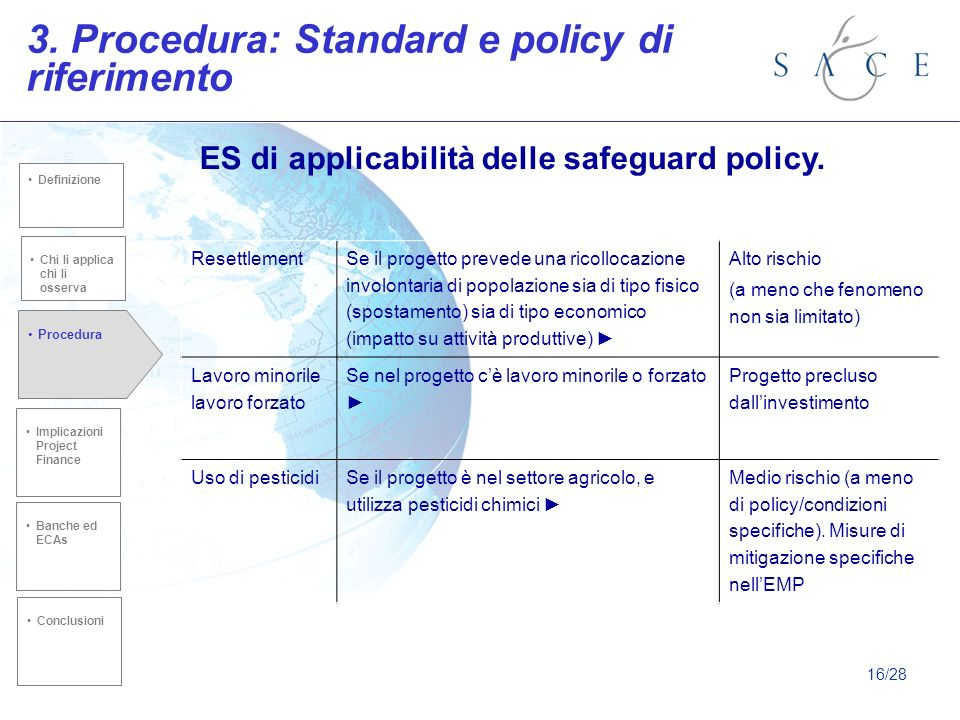 3. Procedura: Standard e policy di riferimento