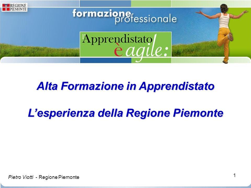Alta Formazione in Apprendistato L'esperienza della Regione Piemonte