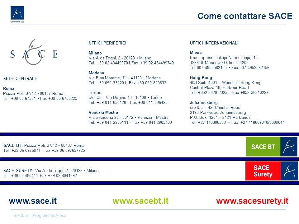 Come contattare SACE www.sace.it www.sacebt.it www.sacesurety.it