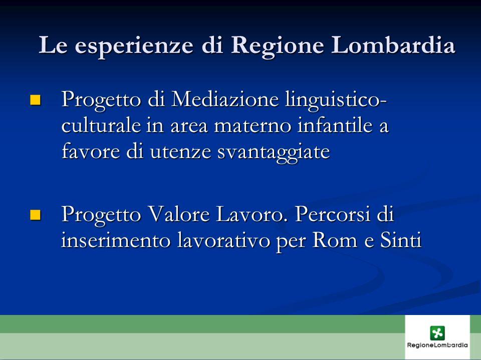 Le esperienze di Regione Lombardia