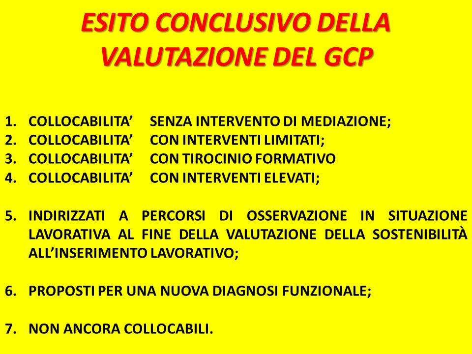 ESITO CONCLUSIVO DELLA VALUTAZIONE DEL GCP