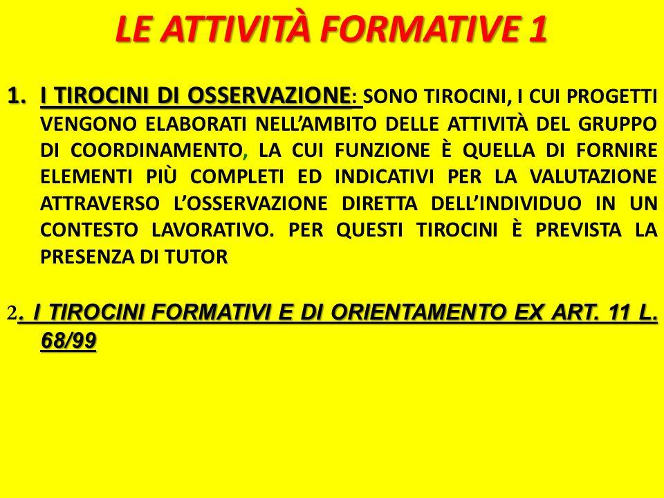 LE ATTIVITÀ FORMATIVE 1