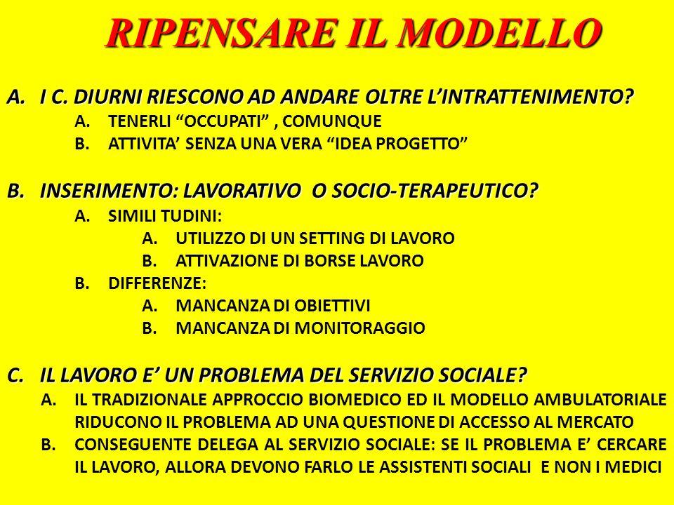 RIPENSARE IL MODELLO I C. DIURNI RIESCONO AD ANDARE OLTRE L'INTRATTENIMENTO TENERLI OCCUPATI , COMUNQUE.