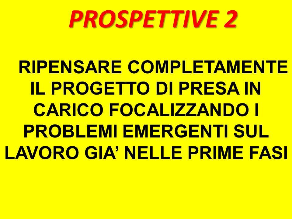 PROSPETTIVE 2 RIPENSARE COMPLETAMENTE IL PROGETTO DI PRESA IN CARICO FOCALIZZANDO I PROBLEMI EMERGENTI SUL LAVORO GIA' NELLE PRIME FASI.
