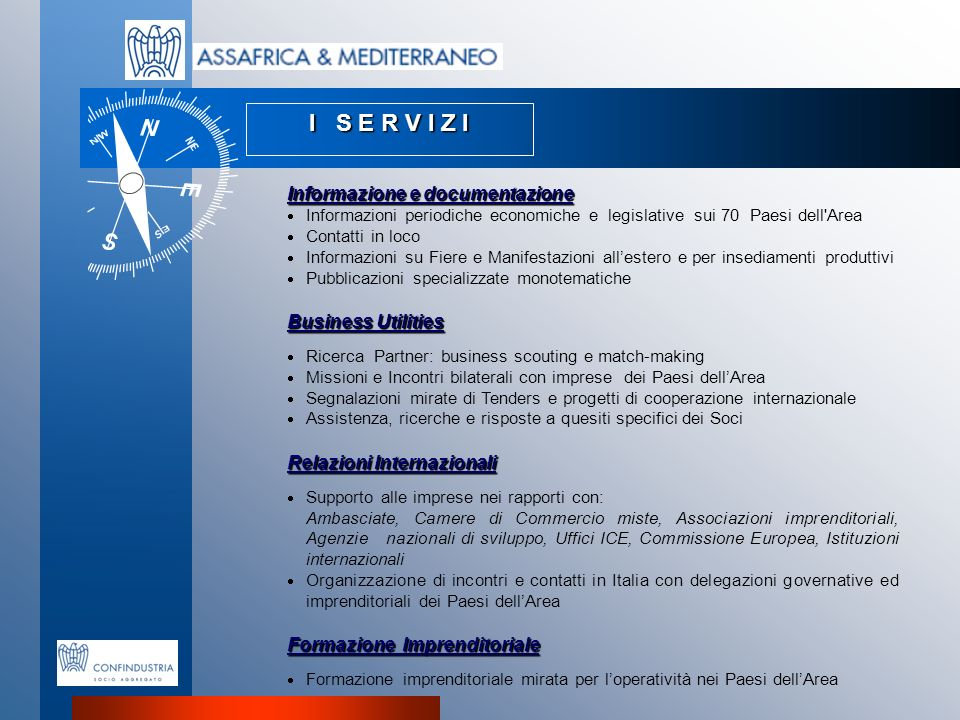 I S E R V I Z I Informazione e documentazione Business Utilities