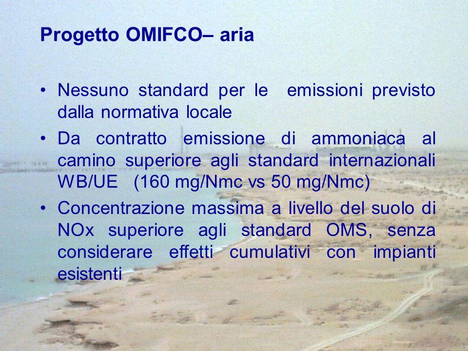 Progetto OMIFCO– aria Nessuno standard per le emissioni previsto dalla normativa locale.