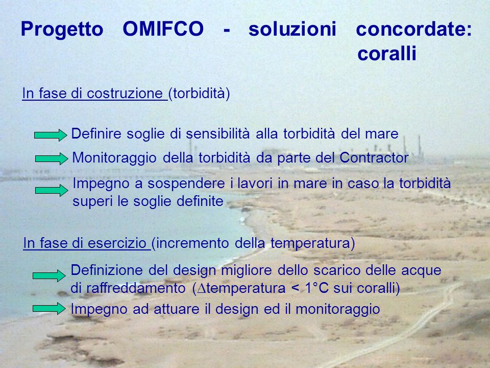 Progetto OMIFCO - soluzioni concordate: coralli