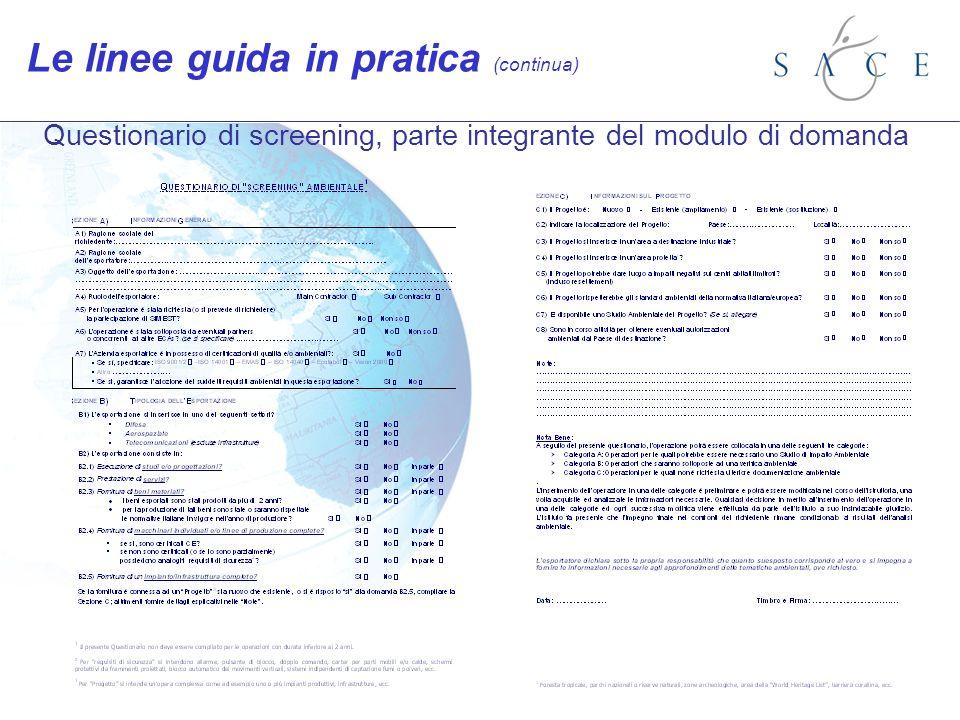Questionario di screening, parte integrante del modulo di domanda