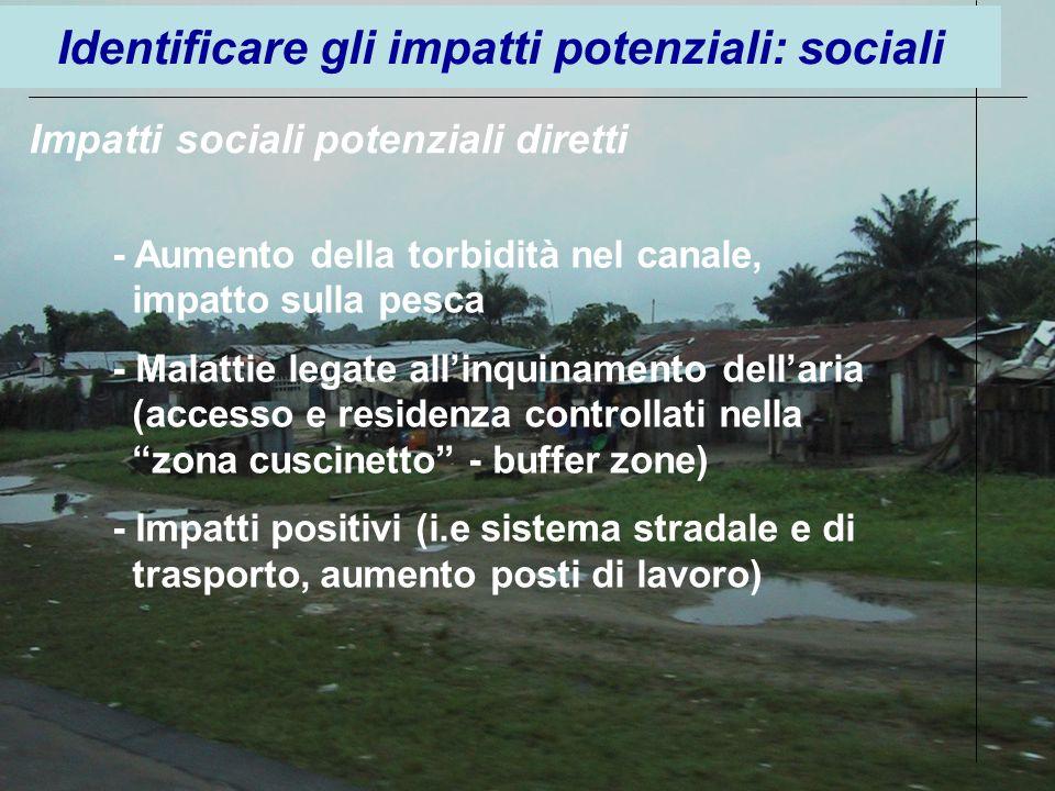 Identificare gli impatti potenziali: sociali