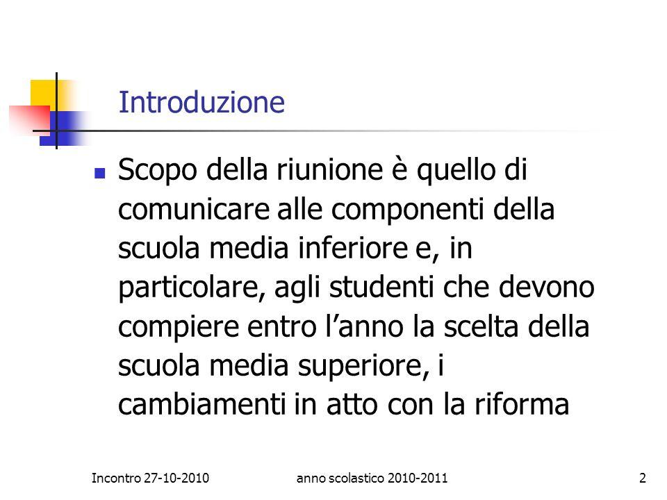 Liceo Artistico Terni Incontro 27-10-2010. Introduzione.