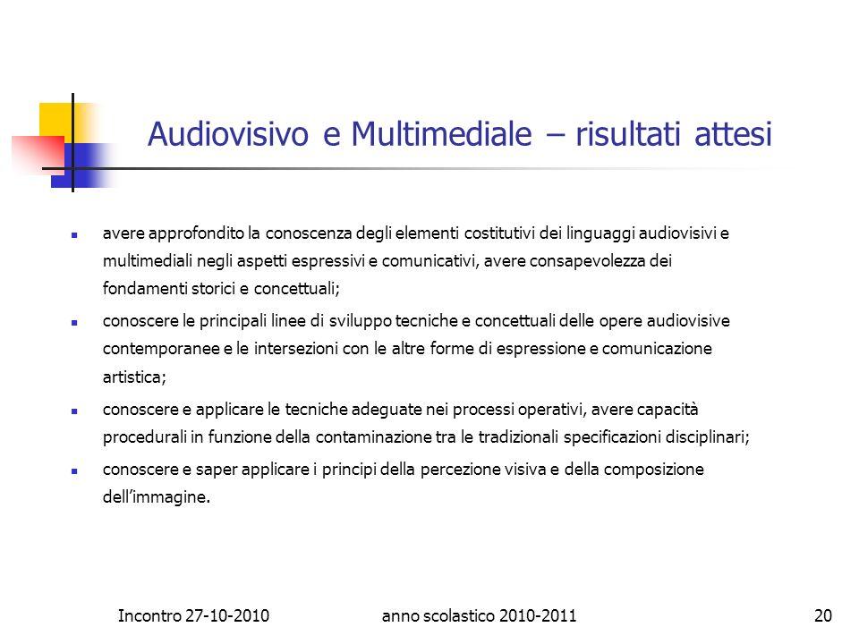 Audiovisivo e Multimediale – risultati attesi