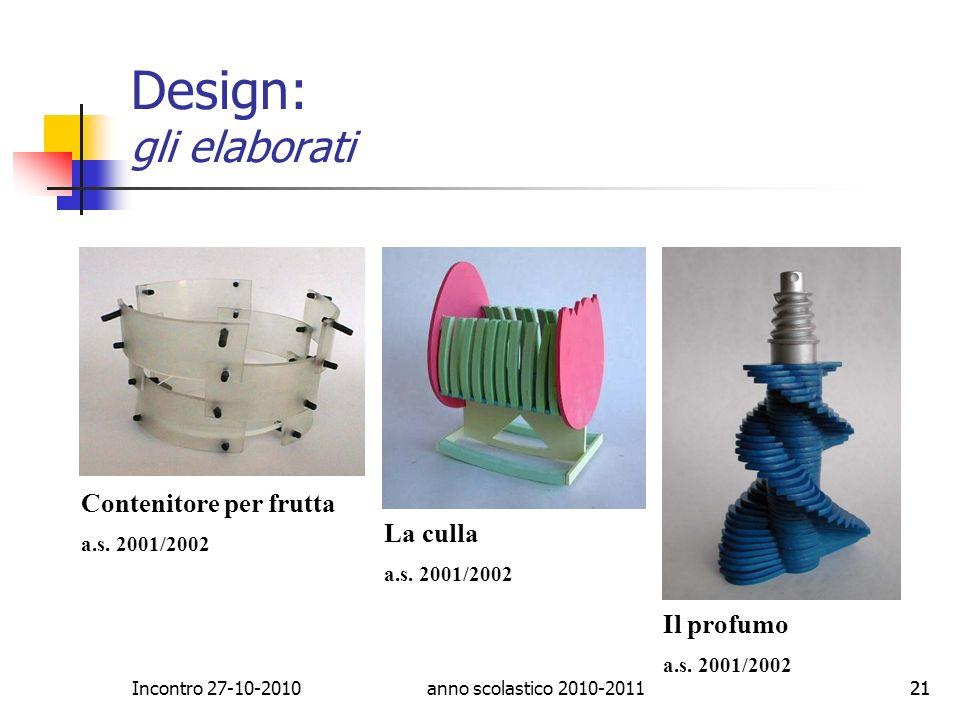 Design: gli elaborati Contenitore per frutta La culla Il profumo