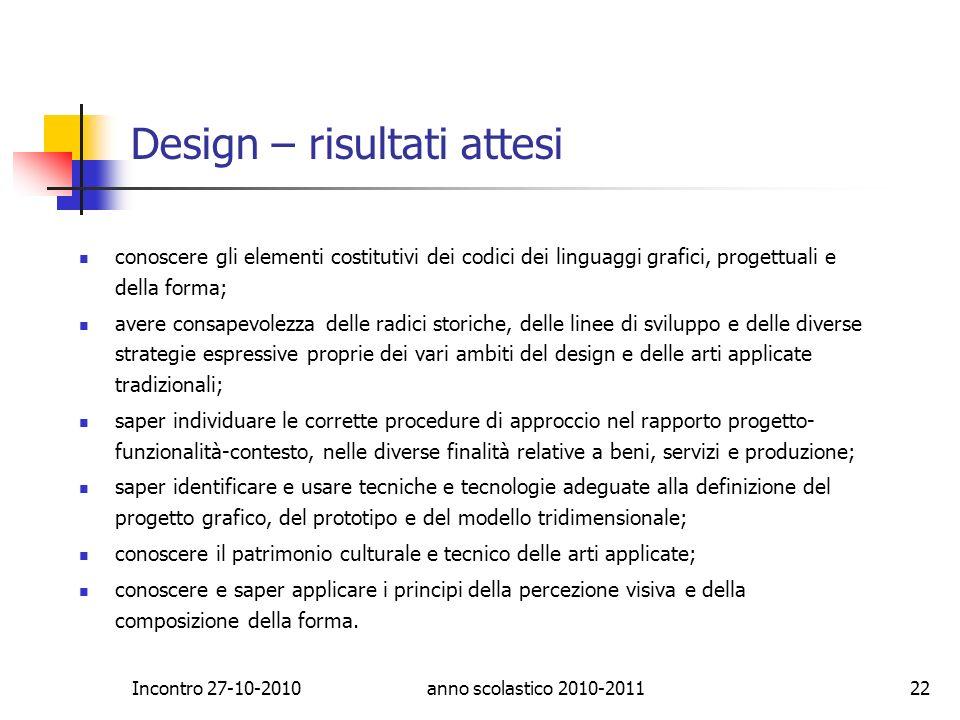Design – risultati attesi