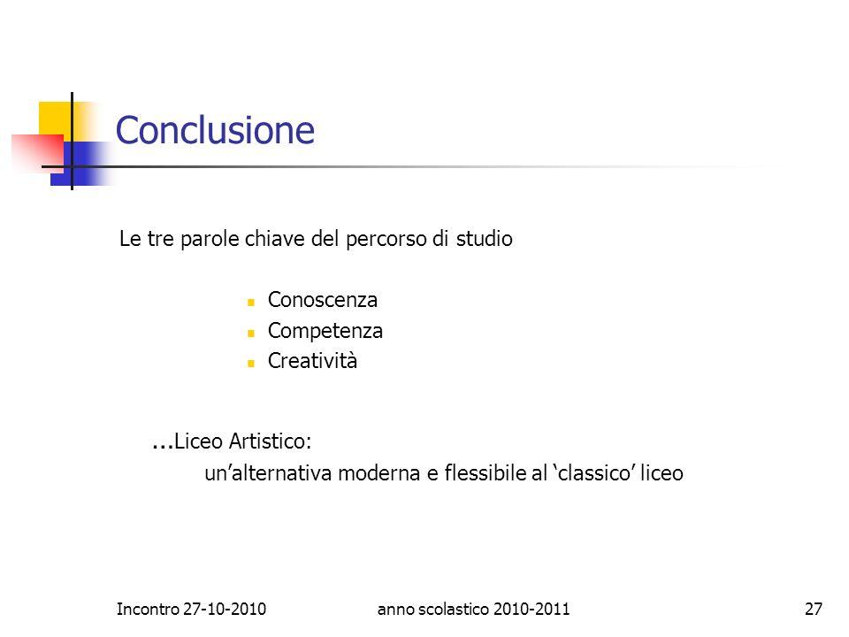 Conclusione …Liceo Artistico: