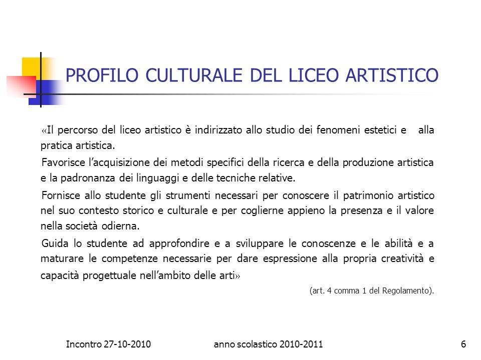 PROFILO CULTURALE DEL LICEO ARTISTICO