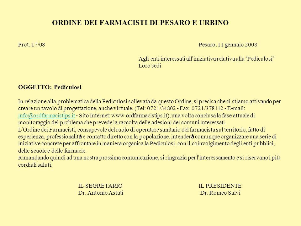 ORDINE DEI FARMACISTI DI PESARO E URBINO Prot. 17/08